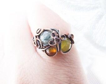 Spring Meadow Ring, Quartz, Agate, Prehnite Copper Ring, Rustic Retro Ring,