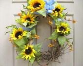 Sunflower Wreath, Grapevine Wreath, Sunflowers Blue Gingham Wreath, Summer Wreath, Floral Wreath, Yellow Wreath, Rustic Country Decor