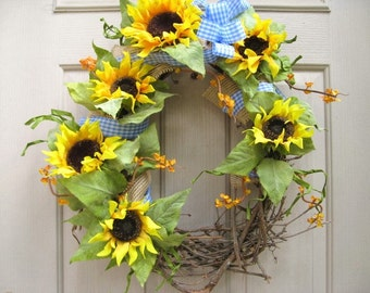 Sunflower Wreath, Grapevine Wreath, Sunflowers Blue Gingham Wreath, Summer Wreath, Floral Wreath, Yellow Wreath, Rustic Country Decor