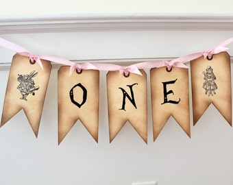 Vintage Inspired Alice in Wonderland Banner - ONE