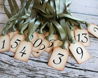 Vintage Inspired Table Number Tags - NUMBERS 1-20 Your Choice of Ribbon Color or Jute