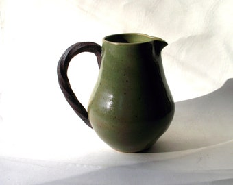 Handmade - Art Studio Pottery- Sage Green Glaze Vessel/Pitcher