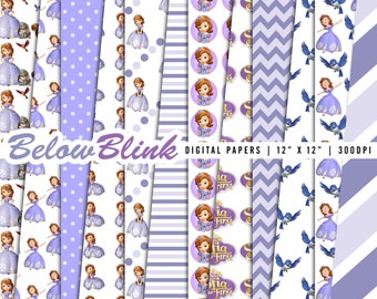 Sofia the First Digital Paper Pack, Scrapbook Papers, 12 jpg files 12 x 12 - Instant Download - DP353