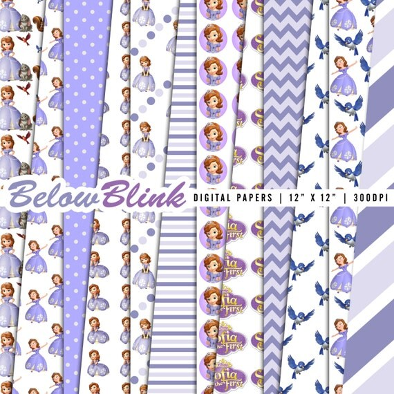 Sofia The First Digital Paper Pack Scrapbook Papers 12 Jpg Files