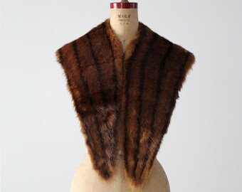 1950s mink stole, vintage fur shawl