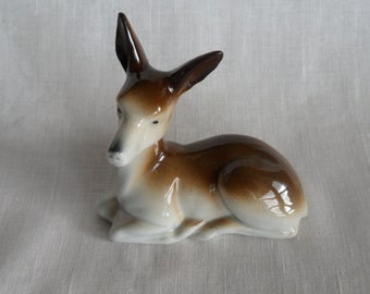 Vintage porcelain deer figurine / 50s - 60s / Germany / signed