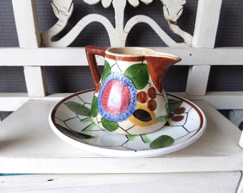 "Art Deco Antique 1920s Villeroy and Boch ""WEEKEND"" Collection Pitcher and Cup"
