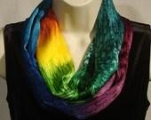Hand Dyed Rainbow Silk Infinity Scarf
