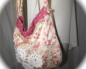 Floral Shoulder Bag, pink english rose flowers, cotton fabric purse, chic shabby cottage chic country cottage bag, romantic French garden