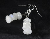 Rainbow Moonstone Stack Earrings, Moonstone and Sterling Silver, White Earrings, Bridal Earrings