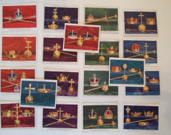 Vintage John PlayersCigarette Cards  Collection set of 19 British Regalia Crowns and Sceptre