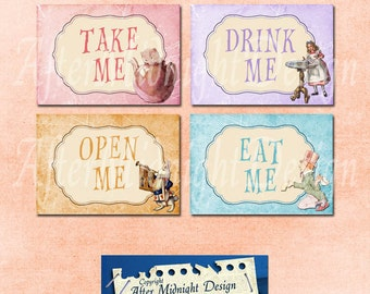 Alice Party Tags No 1, Alice in Wonderland Tags, labels, perfect for parties, presents and invitations
