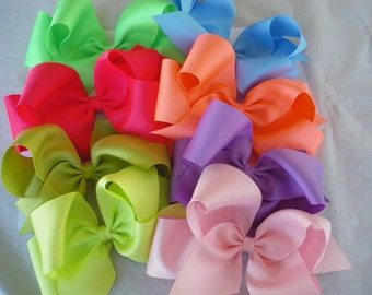 """3 Jumbo Grosgrain  Boutique Bows , Approx. 7"""" wide ,Texas style, Great for Back to School,You pick the colors"""