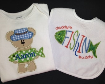 Personalized Bib & Onesie with Fishing Applique and Monogram-Custom Monogram for Boy or Girl - Shower Gift Set