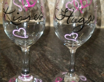 Hand Painted Valentine Wine Glasses