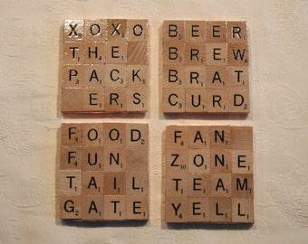 Scrabble Coasters-Milwaukee, Wisconsin, Packers