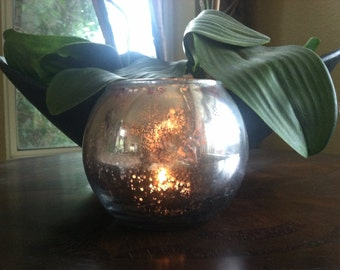 Round Mercury Glass Vase