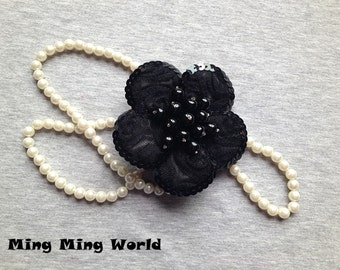 Black Flower Millinery -1PCS  Pearl and Lace Handmade Flower  Millinery(F10)