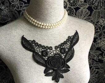 Vintage Applique - 1 pcs Black Flower Applique Lace Trim (A208)