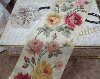STUNNING Antique French Silk Ribbon Trim WIDE Velvet Red Pink Yellow Roses H111