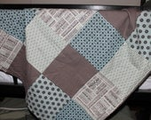 ON SALE NOW Tiffany Blue and Charcoal Grey Patchwork Baby Blanket
