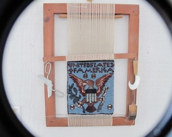 Rug Loom from Afghanistan with Eagle andUnited States of America Woven on it