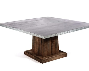 Zinc Table Zinc Dining Table  -  Santa Fe Square Zinc Top Dining Table - Reclaimed Oak Base - Walnut Finish