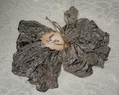 Scrunched Seam Binding ribbon, 10 Yards Tea Stained Seam Binding, Crinkled Tea Stained Antique Grey Seam Binding