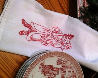 Embroidered Tea Towel Flour Sack Victorian Father Christmas Quiltsy Handmade