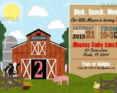 Farm Party Country Barnyard Party Invitation Cow Pig Duck Birthday Printable