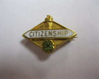 Citizenship Lapel Pin To Wear With Honor 60s 4 H Youth Club Citizenship Pin Vintage Jewelry For USA Citizen Wear Share Display or Collect