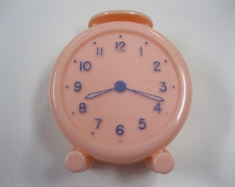 Pink FUN Time to Save Alarm Clock Style Coin Bank Vintage Plastic 60s Collectible The Friendly Bank Magnolia, Arkansas Collect-Save-Rich-Fun