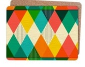 Geometric Placemats Retro Colourful Triangle Design Pack of 4 Matching