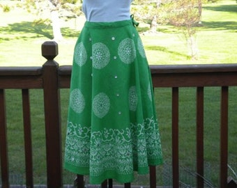 Vintage Green Skirt With Seaquins