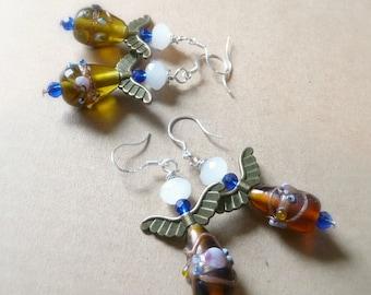 Glass Angel Earrings, Angel Jewelry, Bronze Angel Wings, Lampwork Foil Beads, You Choose Color, Olive Green Earrings, Root Beer Colored Bead