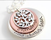 Personalized Name Necklace | Small Grandma Necklace in Sterling Silver and Copper with Tree of Life Charm