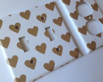 Gold White Hearts Double Light Switch Plate Cover Outlets / Gold Home Decor / Gold Bedroom Decor / Gold Nursery Decor / Gold Room Decor