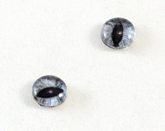 8mm Gray Cat or Dragon Glass Eye Cabochons - Taxidermy Eyes for Doll or Jewelry Making - Set of 2