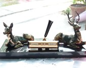 French Vintage Brass Deer Perpetual Calendar Pen Holder On A Black Onyx Base - Mechanical Calendar - Sturdy Design - PaperWeight -Gift Ideas