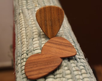 3 Wood guitar picks set Rosewood & Lignum Vitae hand made ukulele