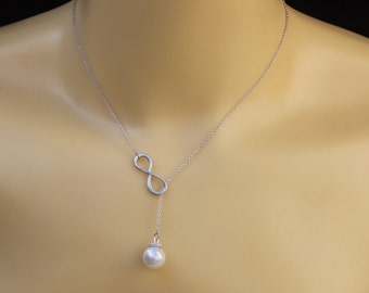 Infinity pearl necklace Infinity necklace drop pearl necklace