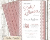 Baby girl shower invitation - pink lace invitation , wood, lace, chic, shabby, modern, baby girl, modern, elegant
