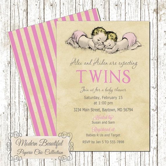 Twin girl baby shower invitation vintage style invitation pink il570xn filmwisefo