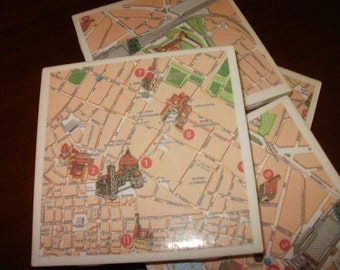 Map Coasters, Florence, Italy...Featuring Ponte Vecchio and The Duomo...Full Cork Bottoms...For Drinks and Candles