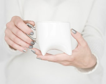 Coffee cup - unique coffee mug or tea cup white with platinum, contemporary ceramic mug, handmade by Endesign