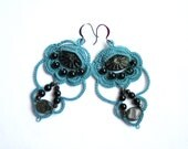 Turquoise Black Czech Glass Beads Tatting Lace Dangle Chandelier Style Earrings