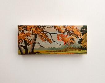 """Paint by Number Large  6"""" x 14"""" Art Block 'Autumn Scene' - fall color, autumnal, vintage landscape"""