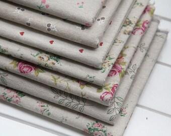 7 Pcs 50x50cm Diy Handmade Linen Fabric For Patchwork - Zakka Fabric - Set - Lot