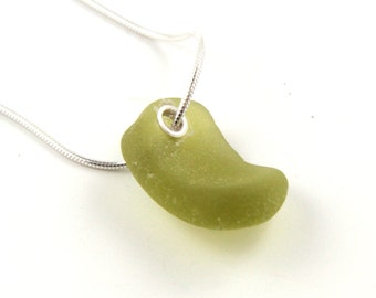Lime Green Sea Glass Necklace with Sterling Silver Chain