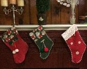 Red Christmas stocking Set 3 Personalized wood tag name Christmas color decor